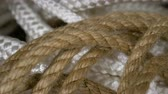 skein : Panorama set rope of brown, white in form spiral closeup. Rope background design. Clear place for your isolated text pattern. Empty space for your title copy space. Copyspace logo to blank design. Stock Footage