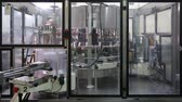 notas : Kiev, Ukraine - May 2017: Machine for sticking labels on a bottle of champagne. Bottles move behind the glass of the machine. Automation of production at the plant. Ambient sound at clip. Vídeos