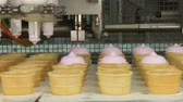 вафля : Ice cream factory. Filling of wafer cups with ice cream. Pink fruity and vanilla ice cream in a waffle cup. Automated production of ice cream. Стоковые видеозаписи