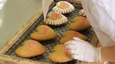 эмаль : Manufactured gingerbread in a confectionery factory. Confectioner decorates the gingerbread. Gingerbread cookies in the form of hearts. Gingerbreads close-up, production process.