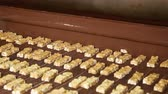 quebradiço : Bars of nougat with nuts are poured with chocolate. Manufacture of chocolate bars with nougat and peanuts. Chocolate bars move along conveyor belt at confectionery factory for the production of sweets Vídeos