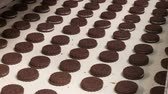 produtos de panificação : Cookies with cocoa chocolate brown taste on the conveyor belt in the bakery confectionery factory. Cocoa cookies from two layers with cream in the shop of the confectionery factory. Stock Footage