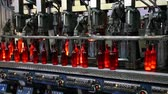 горячая линия : Manufacture of a wine bottle. Production bottles in glass factory. Conveyor for the production of glass bottles in glass factory. Factory for the production of bottles, glass plant. Ambient sound. Стоковые видеозаписи