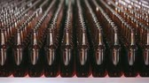 recycling plant : Empty brown bottles in a line in factory. Rows of beer bottles in the factory. Beer bottle factory. Clean bottles are moving along the conveyor. Technological line for bottling of beer in brewery.