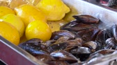 crustacean : Cooked mussels in a bowl with lemon. Stuffed mussels and lemon. Mussels close up on a tray in the window with lemon. Tray with mussels and lemons. Street trade. Stock Footage