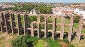 klempířství : Aqueduct of the Miracles in Merida, aerial view. Roman aqueduct of Merida. Front view of Aqueduct of the Miracles in Merida, Spain.