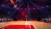 bokeh : Basketball court with people fan. Sport arena. Ready to start championship. 3d render. Moving lights. With people Stock Footage