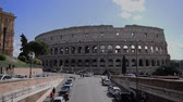 March 8th 2020, Rome, Italy: View of the Colosseum with few tourists due to the coronavirus epidemic Stok Video