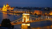 evening : Panorama of Budapest, Hungary. Chain Bridge and the Parliament. Timelapse Stock Footage