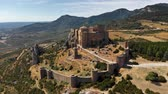 yerleri : Medieval castle of Loarre in Aragon, Spain. Aerial view. UHD, 4K