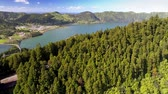 krater : Lagoa das Sete Cidades - lakes and town on Sao Miguel Island, Azores. 4K, UHD Stok Video
