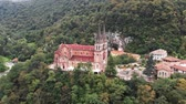 santuário : Basilica of Our Lady of Battles, Covadonga, Asturias, Spain. Aerial drone shot. UHD, 4K