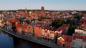 harbor : Gdansk, Poland. Beautiful old buildings at the bank of Motlawa River. 4K, UHD