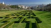 Labyrinth decorated bushes in the Eduardo VII Park in Lisbon, Portugal. Stock Footage