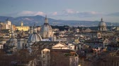 Panoramic shot of evening Rome, Italy. 4K, UHD Stock Footage
