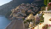 Positano, Italy. Gimbal shot of spring Positano village in Amalfi Coast, Salerno. Stock Footage