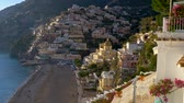 Positano village, Italy in the afternoon sun. Positano is a village on the Amalfi coast of Tyrrhenian Sea. 4K