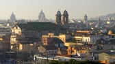 Rome, Italy. Panorama of the city during sunrise. Wonderful and sweet morning. Panning shot, 4K
