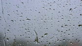 wipers : Window with raindrops during the rain. Slow motion shot Stock Footage