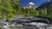 Аргентина : Water flowing through a mountain stream. Lanin volcano is seen in the background. Southern Andes, Argentina near the Chilean border. 4K