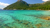 calçada : Sandy beach with azure water. Majorca Platja de Formentor beach - Mallorca at Balearic Islands of Spain
