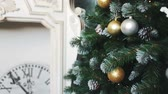 italy : Cristmas tree with toys on fireplace background