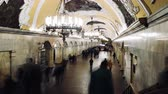 metro : MOSCOW, RUSSIA - 28 SEPTEMBER 2016: Timelapse people moving throw Kievskaya subway station.