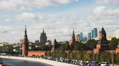 russo : Tiltshift Timelapse view of historical center Moscow center with kremlin and traffic jam