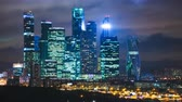 corporation : Skyscrapers International Business Center City at night timelapse , Moscow, Russia