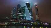 moskau : Wolkenkratzer International Business Center Stadt in der Nacht Zeitraffer Hyperlapse, Moskau, Russland Stock Footage