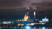 illumination : Timelapse view of historical building and moscow domntown skyline