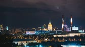 Украина : Timelapse view of historical building and moscow downtown skyline Стоковые видеозаписи