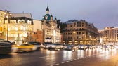 russo : Timelapse view of historical center Moscow center with car traffic