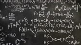 věda : Chemical and mathematical equations wall room background Dostupné videozáznamy