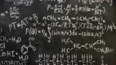 kimya : Chemical and mathematical equations wall room background focused and defocused action Stok Video