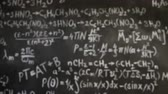 científico : Chemical and mathematical equations wall room background focused and defocused action Vídeos