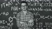 científico : Young scientist man make laboratory experiment in chemical and mathematical equations wall room