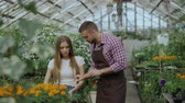 consumismo : Young cheerful man florist talking to customer and giving advice while working in garden center Stock Footage