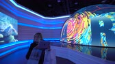 obchod : ASTANA, Kazakhstan - June 10, 2017: Russian Expo pavilion with futuristic screen with future energy concept