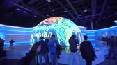 konference : ASTANA, Kazakhstan - June 10, 2017: Russian Expo pavilion with futuristic screen with future energy concept