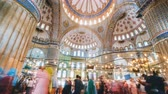 süsleme : Timelapse of The Blue Mosque interior or Sultanahmet indoors in Istanbul city in Turkey