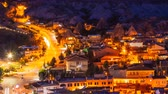 vila : Pan timelapse view of Goreme village with beautiful sky in Cappadocia at night in Turkey