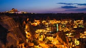 illumination : Timelapse view of Goreme village in Cappadocia at night in Turkey Stock Footage