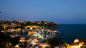 doca : Timelapse of an Antalya old marina in Turkey at night Stock Footage