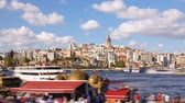 turcja : Zoom out timelapse of people walking around famoust tourist place in Istanbul with Galata Tower view and Bosphorus