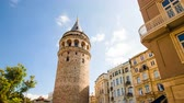 zoom out : Zoom out Timelapse of famous tourist place Galata tower in Istanbul in Turkey