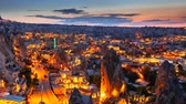 zoom out : Zoom out Timelapse view of Goreme village in Cappadocia at night in Turkey