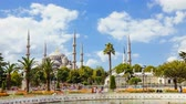 известный : Zoom in timelapse of The Blue Mosque or Sultanahmet outdoors in Istanbul city in Turkey Стоковые видеозаписи