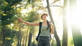polegar : Traveler woman hitchhiking on a sunny forest road. Tourist girl looking for ride to start her journey Stock Footage
