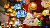 mozaik : Famous Grand Bazar shop sale in Istanbul Turkey Stok Video